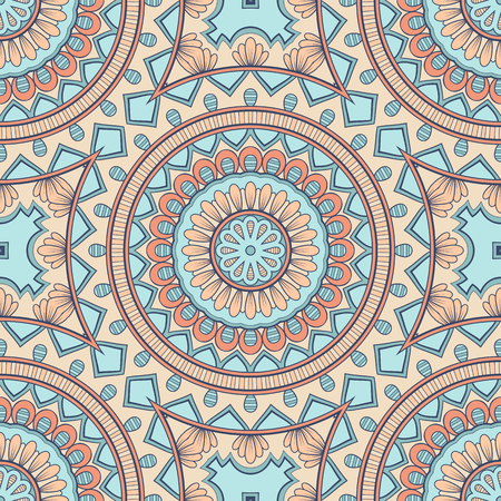 Decorative colorful ethnic seamless pattern for fabric or wrapping in oriental style. Hand drawn illustration