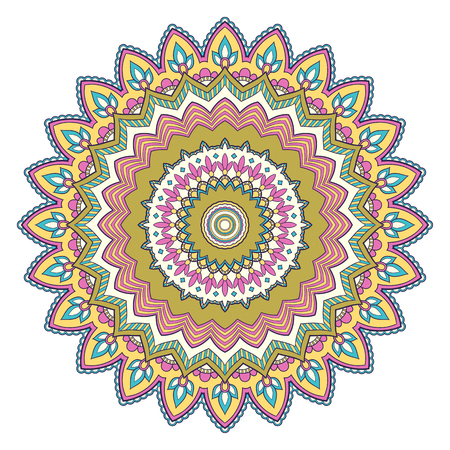 Decorative colorful ethnic mandala pattern. Design element for greeting card, banner or poster in oriental style. Hand drawn illustration