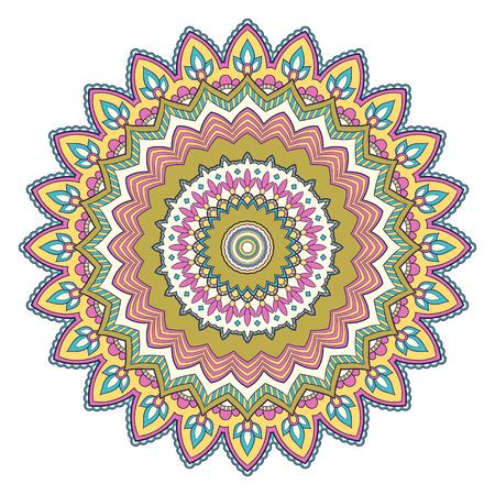 Patrón de mandala étnico colorido decorativo. Elemento de diseño para tarjetas de felicitación, pancartas o carteles en estilo oriental. Ilustración dibujada a mano