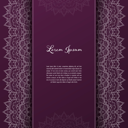Greeting card or invitation template with filigree lace frame. Design for romantic events Vettoriali