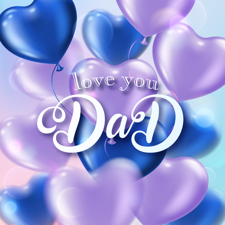 Fathers day greeting card with heart-shaped balloons and handwritten message