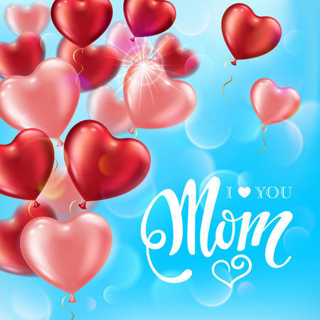 Mothers day greeting card with heart-shaped balloons and handwritten message on blue sky background