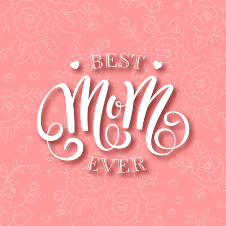 Mothers day greeting card with handwritten message on floral background
