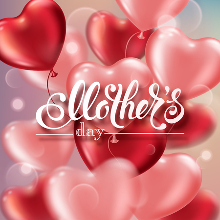 Mothers day greeting card with heart-shaped balloons and handwritten message Çizim