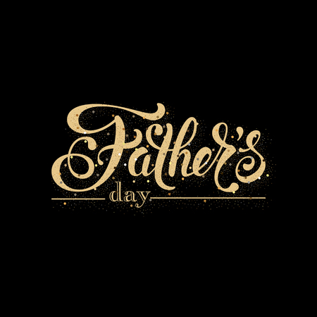 Fathers day greeting card. Handwritten message on black background with golden confetti Çizim
