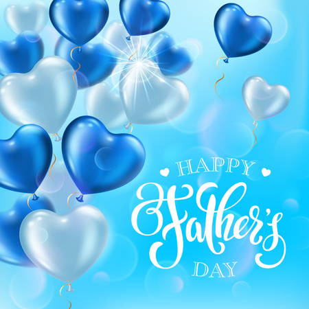 Fathers day greeting card with heart-shaped balloons and handwritten message on blue sky background