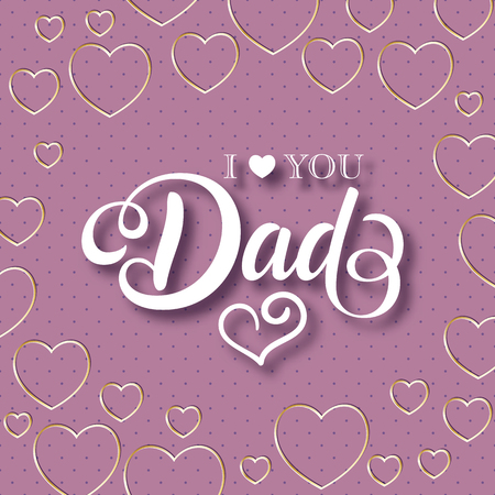 Fathers day greeting card with handwritten message on polka dot background Çizim