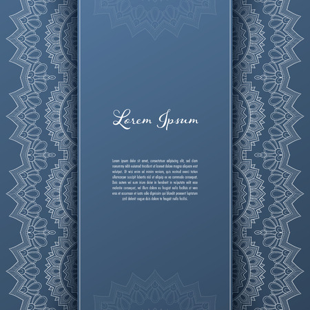 Greeting card or invitation template with filigree lace frame. Design for romantic events Çizim