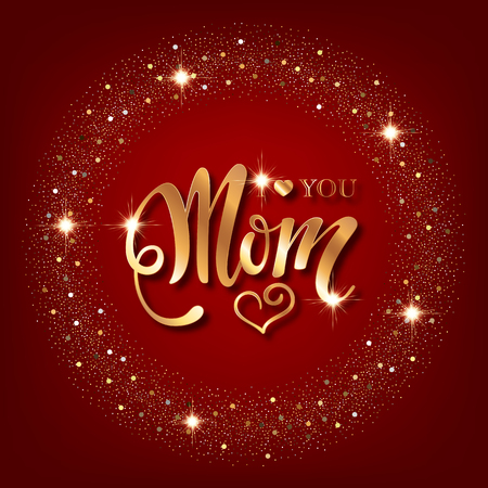 Mothers day greeting card. Handwritten message on red background with golden confetti Çizim
