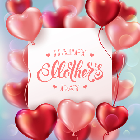 Mothers day greeting card with heart-shaped balloons and handwritten message  イラスト・ベクター素材