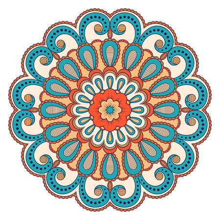 Decorative colorful ethnic mandala pattern. Design element for greeting card, banner or poster in oriental style. Hand drawn illustration Illustration