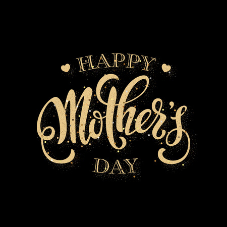 Mothers day greeting card. Handwritten message on black background with golden confetti