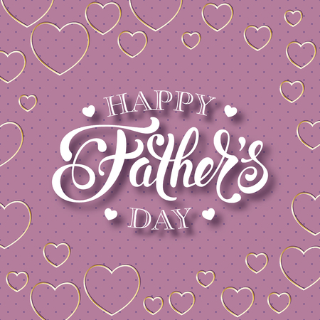 Fathers day greeting card with handwritten message on polka dot background Illustration