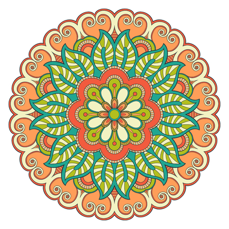 Decorative colorful ethnic mandala pattern. Design element for greeting card, banner or poster in oriental style. Hand drawn illustration Stock Vector - 124993905