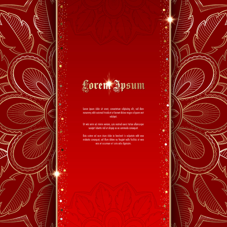 Greeting card or invitation template with golden ornament and confetti. Design for any purposes: wedding, birthday, anniversary or christmas 일러스트