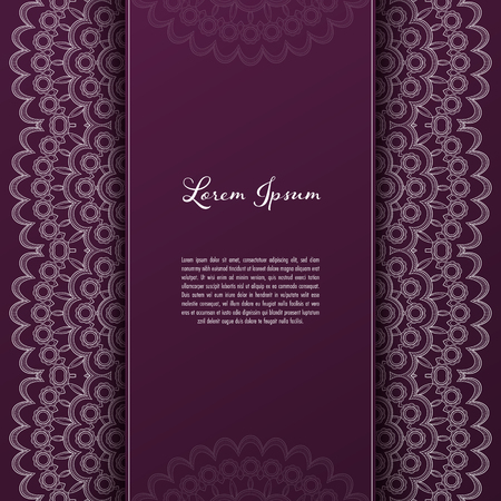 Greeting card or invitation template with filigree lace frame. Design for romantic events Illustration