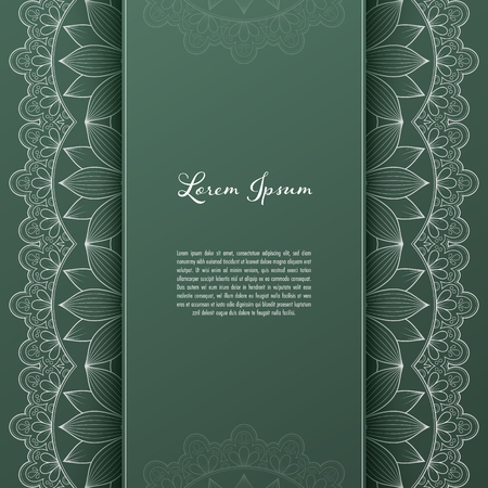 Greeting card or invitation template with filigree lace frame. Design for romantic events 向量圖像