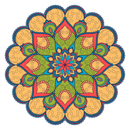 Decorative colorful ethnic mandala pattern. Design element for greeting card, banner or poster in oriental style. Hand drawn illustration Stock Illustratie