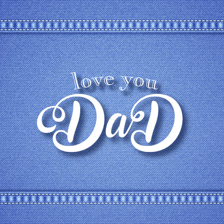 Fathers day greeting card. Handwritten message on blue denim background with stitches