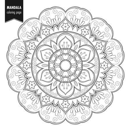 Decorative monochrome ethnic mandala pattern. Anti-stress coloring book page for adults. Hand drawn illustration
