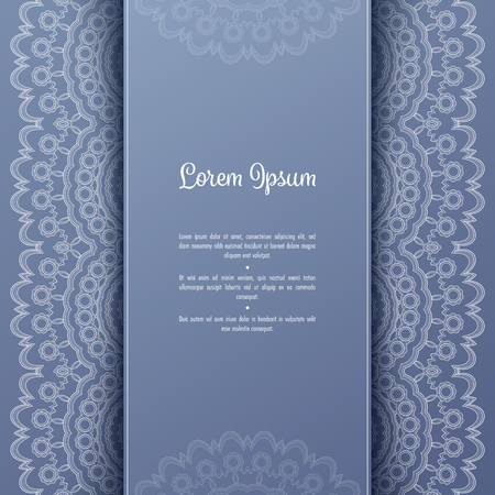 Greeting card or invitation template with filigree lace frame. Design for romantic events 矢量图片