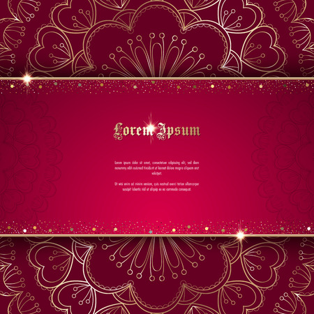Greeting card or invitation template with golden ornament and confetti. Design for any purposes: wedding, birthday, anniversary or christmas Иллюстрация
