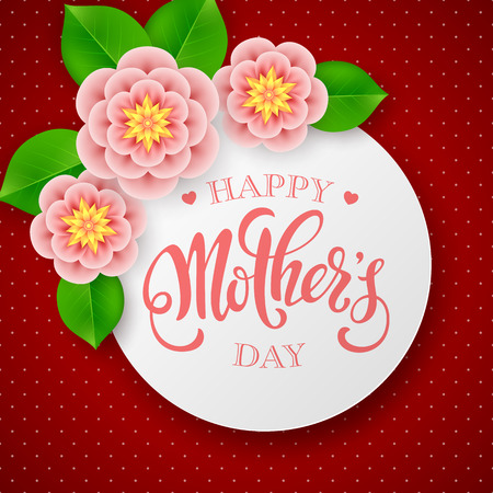 Mothers day greeting card. Handwritten message with flowers and leaves on dark red polka dot background
