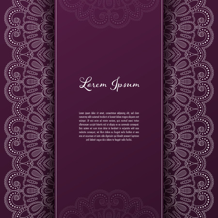 Greeting card or invitation template with filigree lace frame. Design for romantic events Banco de Imagens - 124818354