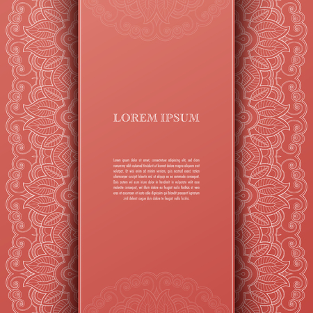 Greeting card or invitation template with filigree lace frame. Design for romantic events Ilustração