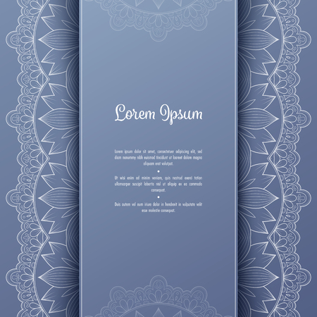 Greeting card or invitation template with filigree lace frame. Design for romantic events 일러스트