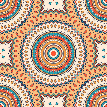 Decorative colorful ethnic seamless pattern for fabric or wrapping in oriental style. Hand drawn illustration Vetores
