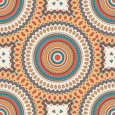 Modello senza cuciture etnico colorato decorativo per tessuto o avvolgimento in stile orientale. Illustrazione disegnata a mano Vettoriali