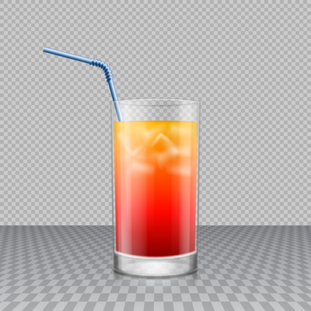 Realistic transparent glass of drink with ice cubes and drinking straw in it