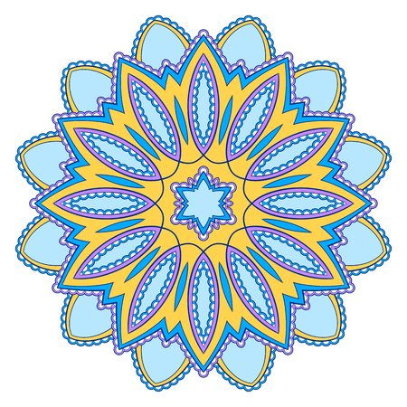 Modello decorativo mandala etnico colorato. Elemento di design per biglietto di auguri, banner o poster in stile orientale. Illustrazione disegnata a mano Vettoriali