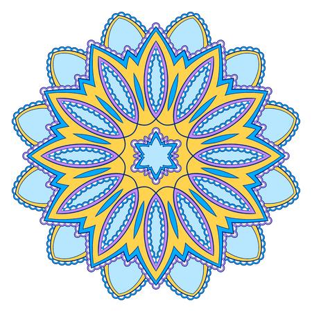 Ozdobny kolorowy wzór mandali etnicznych. Element projektu na kartkę z życzeniami, baner lub plakat w stylu orientalnym. Ręcznie rysowane ilustracja Ilustracje wektorowe