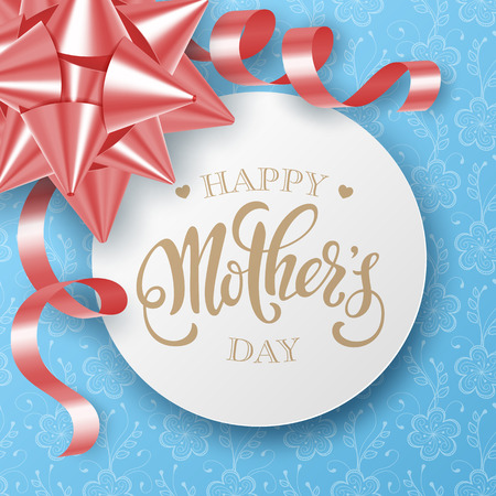Mothers day greeting card with satin gift bow and handwritten message on blue background
