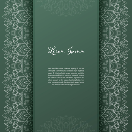 Greeting card or invitation template with filigree lace frame. Design for romantic events