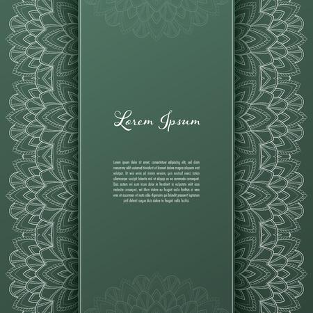 Plantilla de tarjeta de felicitación o invitación con marco de encaje de filigrana. Diseño para eventos románticos