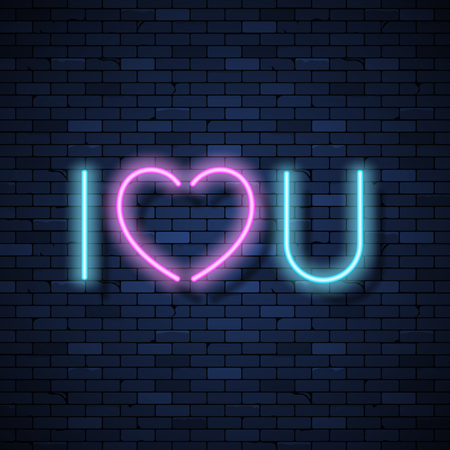 I love you glowing neon sign on brick wall background Çizim