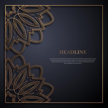 Modello di biglietto di auguri oro e nero in stile retrò. Ottimo design per qualsiasi scopo: invito, volantino, menu, brochure o depliant Vettoriali