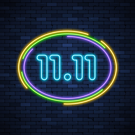 11 11 glowing neon sign on brick wall background Illustration