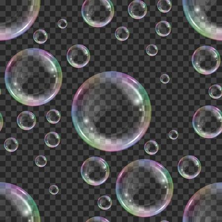 Naadloze patroon met realistische zwevende zeepbellen met regenboog reflectie op transparante achtergrond. Ontwerpelement voor reclameboekje, flyer of poster