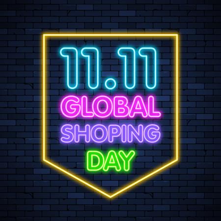 11 11 giornata mondiale dello shopping incandescente insegna al neon sullo sfondo del muro di mattoni Vettoriali