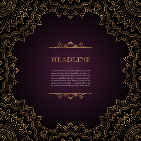 Luxury background with golden ornamental frame for greeting card, invitation or announcement Illustration