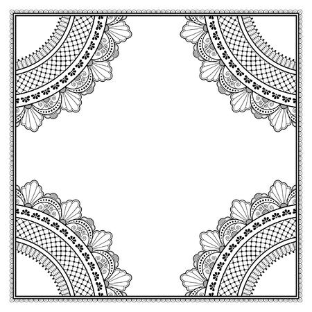 Motif monochrome décoratif de style oriental ethnique pour carte de voeux, invitation, faire-part ou page de livre de coloriage