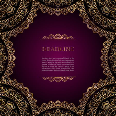 Luxury background with golden ornamental frame for greeting card, invitation or announcement