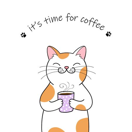 Cute cartoon cat holding a cup of coffee. Hand drawn illustration