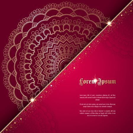 Greeting card or invitation template with golden ornament and confetti. Design for any purposes: wedding, birthday, anniversary or christmas Ilustracja
