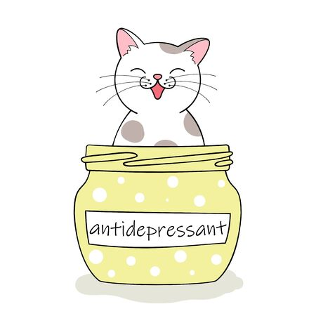 Furry antidepressant. Cute cartoon cat sitting in pill bottle. Hand drawn illustration