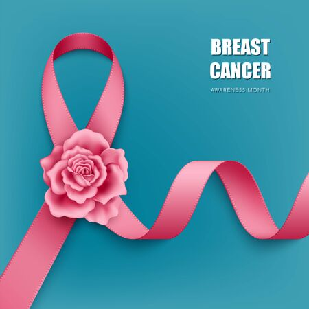 Realistic pink ribbon with rose on turquoise background. Symbol of cancer awareness Vetores